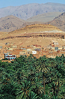Townscape with the Atlas Mountains in the background, Tinerhir, Morocco.