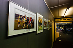 Photographs from a 2003 friendley v Manchester United on the clubhouse wall. Hucknall Town v Heanor Town, 17th October 2020, at the Watnall Road Ground, East Midlands Counties League. Photo by Paul Thompson.