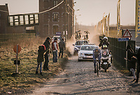 Niki Terpstra (NED/Quick-Step Floors) exiting the last cobbled section with 2km to go and a comfortable 30sec lead<br /> <br /> 50th GP Samyn 2018<br /> Quaregnon > Dour: 200km (BELGIUM)