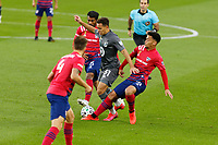 ST PAUL, MN - SEPTEMBER 9: Hassani Dotson #31 of Minnesota United FC and Thiago Santos #5 of FC Dallas fight for the ball during a game between FC Dallas and Minnesota United FC at Allianz Field on September 9, 2020 in St Paul, Minnesota.