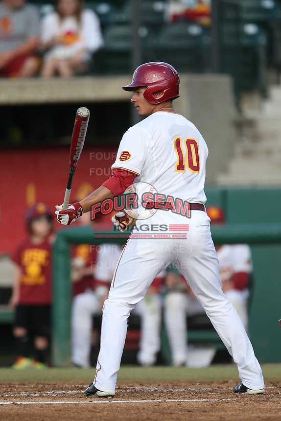 A. J. Ramirez (10) of the Southern California Trojans bats during a game against the Washington State Cougars at Dedeaux Field on March 13, 2015 in Los Angeles, California. Southern California defeated Washington State, 10-3. (Larry Goren/Four Seam Images)