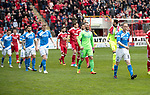 Aberdeen v St Johnstone…29.04.17     SPFL    Pittodrie<br />Steven Anderson leads the saints team out before kick off<br />Picture by Graeme Hart.<br />Copyright Perthshire Picture Agency<br />Tel: 01738 623350  Mobile: 07990 594431