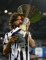 Calcio, Serie A: Juventus vs Napoli. Torino, Juventus Stadium, 23 maggio 2015. <br /> Juventus' Andrea Pirlo celebrates the victory of the Scudetto at the end of the Italian Serie A football match between Juventus and Napoli at Turin's Juventus Stadium, 23 May 2015.<br /> UPDATE IMAGES PRESS/Isabella Bonotto