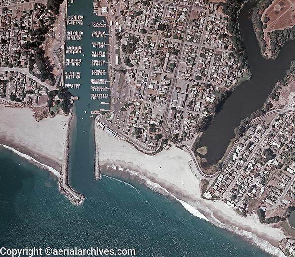 historical aerial photo map of Santa Cruz, California, 1973