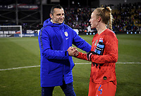 COLUMBUS, OH - NOVEMBER 07: Vlatko Andonovski USWNT head coach congratulates Becky Sauerbrunn #4 during a game between Sweden and USWNT at MAPFRE Stadium on November 07, 2019 in Columbus, Ohio.