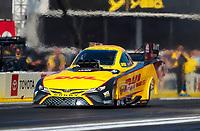 Feb 7, 2020; Pomona, CA, USA; NHRA funny car driver J.R. Todd during qualifying for the Winternationals at Auto Club Raceway at Pomona. Mandatory Credit: Mark J. Rebilas-USA TODAY Sports