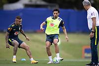 12th November 2020; Granja Comary, Teresopolis, Rio de Janeiro, Brazil; Qatar 2022 World Cup qualifiers; Everton and Marquinhos of Brazil during training session
