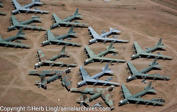 aerial view above military aircraft boneyard Tucson Arizona Davis Monthan air force base