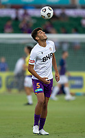 27th March 2021; HBF Park, Perth, Western Australia, Australia; A League Football, Perth Glory versus Newcastle Jets; Jonathan Aspropotamitis of the Perth Glory practises ball control during the team warm ups