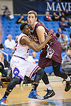 Arkansas Little Rock Trojans forward Will Neighbour (23) and Texas-Arlington Mavericks guard Luke Davis (2) in action during the game between the Arkansas Little Rock Trojans and the Texas Arlington Mavericks at the College Park Center arena in Arlington, Texas. UALR defeats UTA 72 to 70.