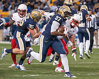 Pitt running back Qadree Ollison (37). The Pitt Panthers football team defeated the Louisville Cardinals 45-34 on Saturday, November 21, 2015 at Heinz Field, Pittsburgh, Pennsylvania.