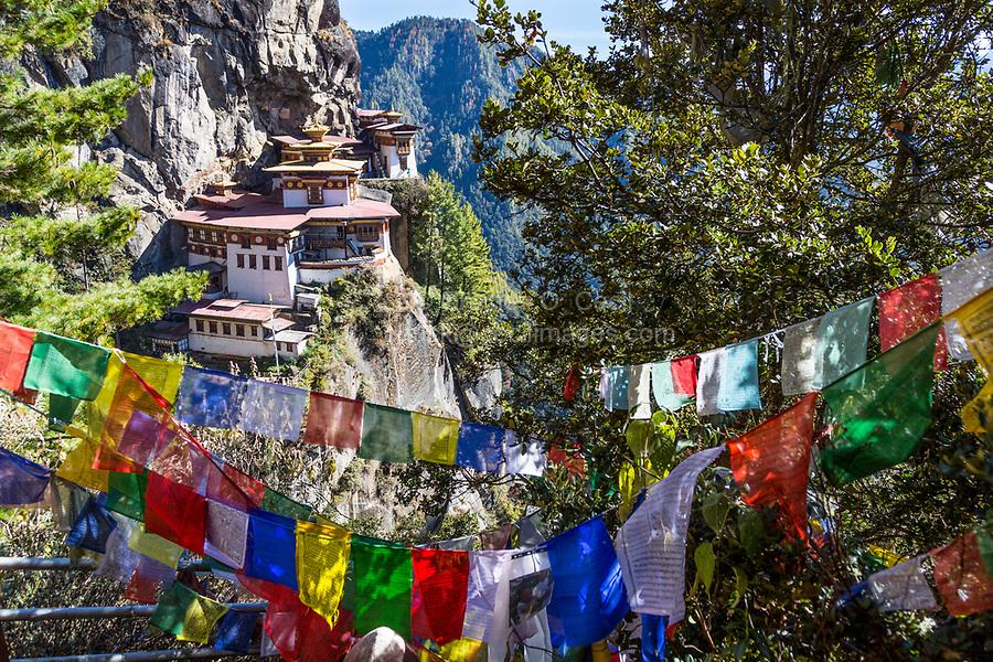 Paro, Bhutan.  Tiger's Nest Monastery.  Prayer Flags in Foreground.