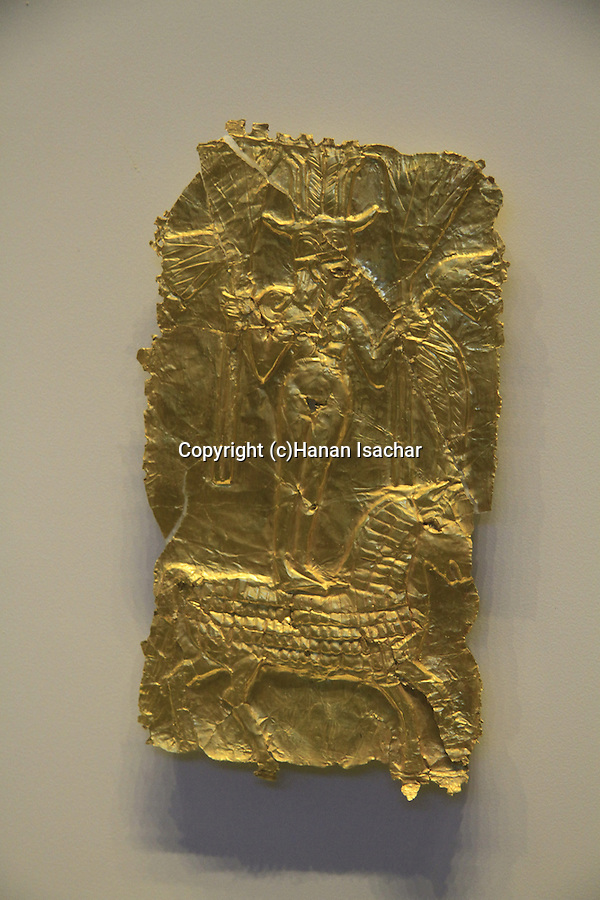Israel, Jerusalem, a golden plaque depicting a Goddess on a horse from Tel Lachish, 13th Century BC, on display at the Israel Museum