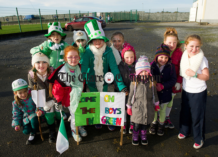 Kilnaboy supporters at the Schools Football finals at Clarecastle. Photograph by John Kelly.