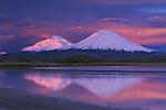 Sunset over the Payachata Volcanoes