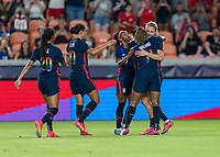 HOUSTON, TX - JUNE 13: Lindsey Horan #9 of the USWNT celebrates a goal with Christen Press #23, Catarina Macario #11 and Crystal Dunn #19 during a game between Jamaica and USWNT at BBVA Stadium on June 13, 2021 in Houston, Texas.