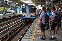 Bangkok, Thailand.  Skytrain Approaching Station.