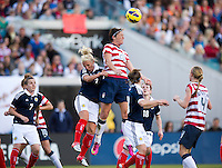 Abby Wambach (20) of the USWNT goes up for a header against Rhonda Jones (2) of Scotland during the game at EverBank Field in Jacksonville, Florida.  The USWNT defeated Scotland, 4-1.