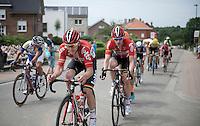 Jasper De Buyst (BEL/Lotto-Soudal) piloting Jurgen Roelandts (BEL/Lotto-Soudal) ahead of the breakaway group<br /> <br /> Belgian Championships 2015