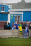 Ramsbottom United 1 Barwell 3, 03/10/2015. Riverside Stadium, Northern Premier League. The teams taking the field at the Harry Williams Riverside Stadium, home to Ramsbottom United (in blue) before they played Barwell in a Northern Premier League premier division match. This was the club's 13th league game of the season and they were still to record their first victory following a 3-1 defeat, watched by a crowd of 176. Rams bottom United were formed by Harry Williams, the current chairman, in 1966 and progressed from local amateur football  in Bury to the semi-professional leagues. Photo by Colin McPherson.