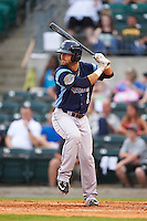 Corpus Christi Hooks outfielder Andrew Aplin (1) at bat during a game against the Arkansas Travelers on May 29, 2015 at Dickey-Stephens Park in Little Rock, Arkansas.  Corpus Christi defeated Arkansas 4-0 in a rain shortened game.  (Mike Janes/Four Seam Images)