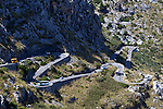 Spain, Mallorca, near Sa Calobra: twisting Ma2141 road at Coll de Cals Reis leading to Sa Calobra | Spanien, Balearen, Mallorca, bei Sa Calobra: Landstrasse Ma2141 am Coll de Cals Reis fuehrt hinunter nach  Sa Calobra