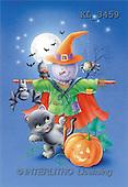 Interlitho, Lorella, REALISTIC ANIMALS, Halloween, paintings, pumpkin, animals, scarf(KL3459,#A#)
