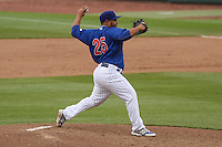 Iowa Cubs pitcher Joe Ortiz (25) delivers a pitch during a Pacific Coast League game against the Colorado Springs Sky Sox on May 11th, 2015 at Principal Park in Des Moines, Iowa.  Colorado Springs defeated Iowa 13-7.  (Brad Krause/Four Seam Images)