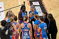 6th June 2021; Ken Rosewall Arena, Sydney, New South Wales, Australia; Australian Suncorp Super Netball, New South Wales, NSW Swifts versus Giants Netball; Briony Akle of NSW Swifts gives a team talk