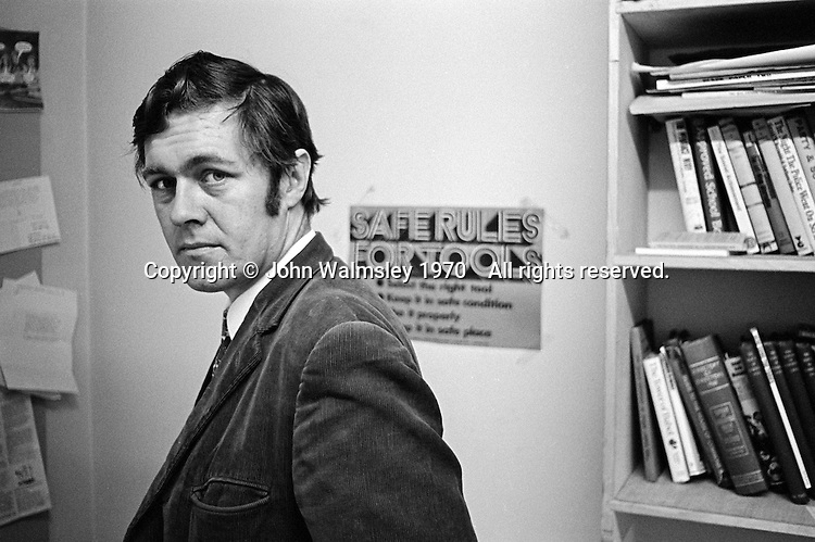 """Richard Ingrams, editor of """"Private Eye"""", the satirical magazine, in his office, London, 1970."""
