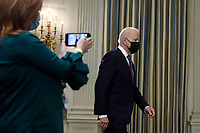 U.S. President Joe Biden arrives to deliver remarks on the March jobs report at the White House in Washington on April 2, 2021.<br /> Credit: Yuri Gripas / Pool via CNP /MediaPunch