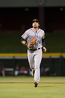 Salt River Rafters left fielder Sam Hilliard (14), of the Colorado Rockies organization, jogs off the field between innings of an Arizona Fall League game against the Mesa Solar Sox at Sloan Park on October 16, 2018 in Mesa, Arizona. Salt River defeated Mesa 2-1. (Zachary Lucy/Four Seam Images)