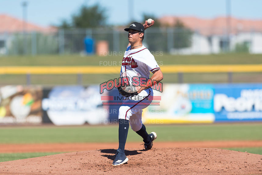 Peoria Javelinas starting pitcher Jeremy Walker (58), of the Atlanta Braves organization, delivers a pitch during an Arizona Fall League game against the Scottsdale Scorpions at Peoria Sports Complex on October 18, 2018 in Peoria, Arizona. Scottsdale defeated Peoria 8-0. (Zachary Lucy/Four Seam Images)