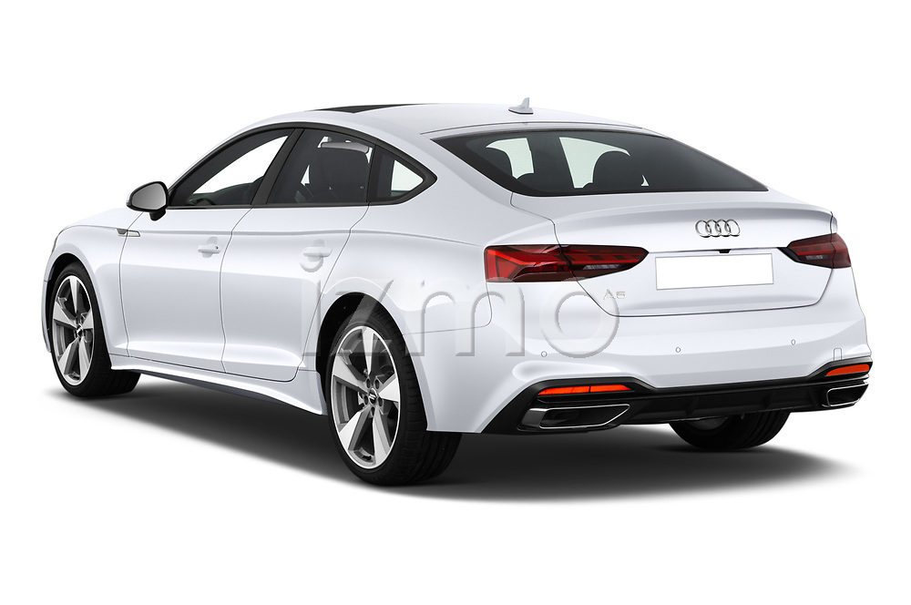 Car pictures of rear three quarter view of 2021 Audi A5-Sportback Design 5 Door Hatchback Angular Rear