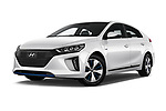 Stock pictures of low aggressive front three quarter view of a 2017 Hyundai Ioniq Plug-In Hybride Executive 5 Door Hatchback