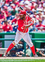 31 May 2014: Washington Nationals outfielder Denard Span in action against the Texas Rangers at Nationals Park in Washington, DC. The Nationals defeated the Rangers 10-2, notching a second win of their 3-game inter-league series. Mandatory Credit: Ed Wolfstein Photo *** RAW (NEF) Image File Available ***