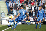 Getafe CF's Leandro Cabrera (L), Samu Saiz Alonso  and Celta de Vigo's Maxi Gomez during La Liga match. February 09,2019. (ALTERPHOTOS/Alconada)