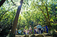 EDITORIAL ONLY. Children hiking with The Nature Center explore the forests and streams of Makiki, near Honolulu
