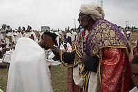 blessing by Coptic orthodox priest in Kashama Ethiopia