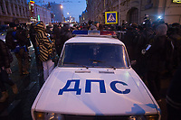A DPS (Traffic Safety Police) car is seen parked as police surround protestors during an illegal protest against Putin in Lubyanka Square in Moscow, Russia.