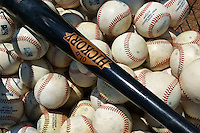 Practice balls and an Old Hickory baseball bat in a basket before a Baltimore Orioles minor league spring training game against the Boston Red Sox on March 20, 2015 at the Buck O'Neil Complex in Sarasota, Florida.  (Mike Janes/Four Seam Images)