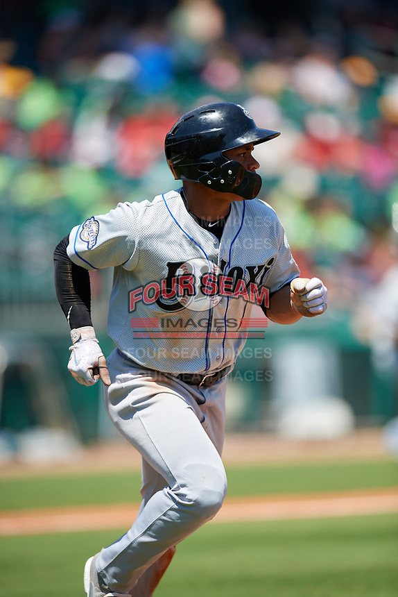 Biloxi Shuckers center fielder Corey Ray (1) runs to first base during a game against the Montgomery Biscuits on May 8, 2018 at Montgomery Riverwalk Stadium in Montgomery, Alabama.  Montgomery defeated Biloxi 10-5.  (Mike Janes/Four Seam Images)