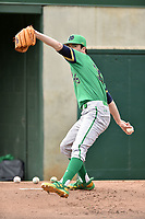 Notre Dame Fighting Irish starting pitcher Peter Solomon (35) warms up in the bullpen before a game against the Clemson Tigers at Doug Kingsmore Stadium on March 11, 2017 in Clemson, South Carolina. The Tigers defeated the Fighting Irish 6-5. (Tony Farlow/Four Seam Images)