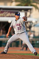 Pitcher Tobi Stoner #27 of the St. Lucie Mets during a game against the Daytona Cubs at Jackie Robinson Ballpark on May 23, 2011 in Daytona Beach, Florida. (Scott Jontes / Four Seam Images)