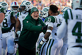 New York Jets assistant special teams coach Jeff Hammerschmidt with Jamal Adams (33) during an NFL football game against the Buffalo Bills, Sunday, December 9, 2018, in Orchard Park, N.Y.  (Mike Janes Photography)