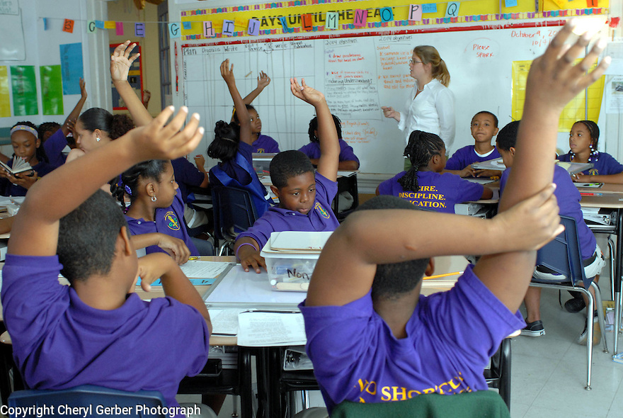 Fifth-graders respond to teacher Bridget Mann, from Marblehead, Ma.,  at KIPP McDonogh 15 School in New Orleans, Wednesday, Oct. 10, 2007..(Photo/Cheryl Gerber)
