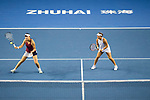 Ying-Ying Duan (L) and Xinyun Han (R) of China in action during the doubles Round Robin match of the WTA Elite Trophy Zhuhai 2017 against Raluca Olaru of Romania and Olga Savchuk of Ukraine at Hengqin Tennis Center on November  02, 2017 in Zhuhai, China.Photo by Yu Chun Christopher Wong / Power Sport Images