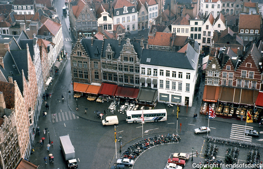 Bruges: The Markt from Halles Belfry. Photo '87.