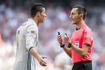 Cristiano Ronaldo (l) of Real Madrid argues with referee Jose Maria Sanchez Martinez during their La Liga match between Real Madrid and Deportivo Alaves at the Santiago Bernabeu Stadium on 02 April 2017 in Madrid, Spain. Photo by Diego Gonzalez Souto / Power Sport Images