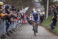 Later winner Niki Terpstra (NED/Quick Step Floors) solo up the 3th passage of the Oude Kwaremont.<br /> <br /> 102nd Ronde van Vlaanderen 2018<br /> 1day race: Antwerp › Oudenaarde - BEL (265k)